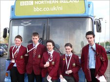 The School Reporters from St Patrick's with the BBC Bus