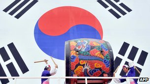 South Korean flag and drummers