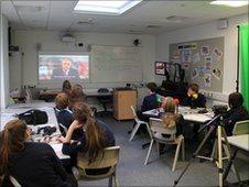 The School Reporters watch the Huw Edwards video