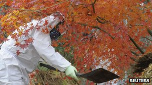 Contaminated soil from areas tainted with radioactive substances being removed from near the Fukushima plant