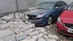Cars damaged by falling wall in Aberdeen