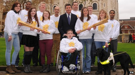 Torchbearers with Seb Coe at the Tower of London