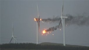 Windfarm on fire in Ardrossan