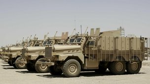 Fleet of Mastiff vehicles at Camp Bastion