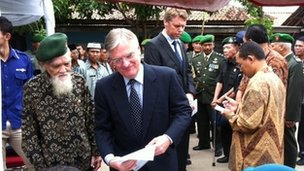 Dutch ambassador Tjeerd de Zwaan at a ceremony in Balongsari village