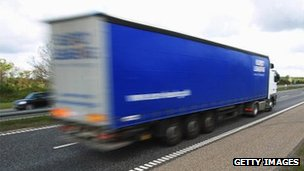 Truck crossing German border into Denmark