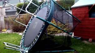 Trampoline blown over in Aberdeen