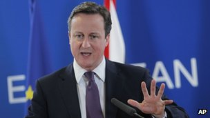 David Cameron at the Brussels EU summit