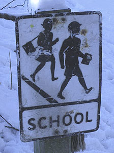 An old school sign