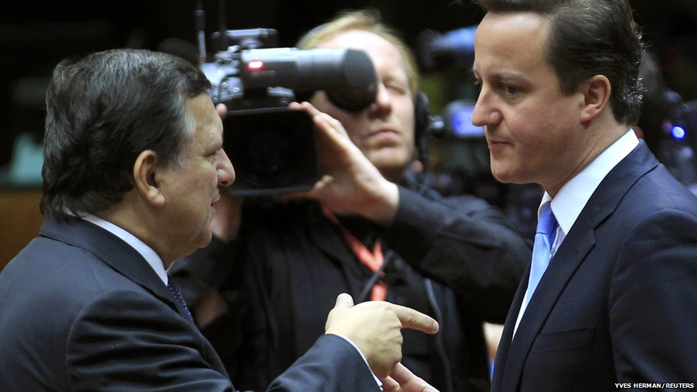 European Commission President Jose Manuel Barroso (left) talks with Britain's Prime Minister David Cameron at a European Union summit in Brussels