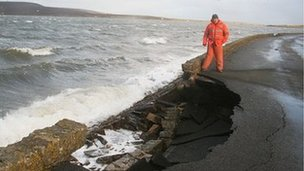 Storm-damaged causeway between South Walls and Hoy in Orkney