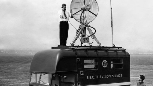 A mobile transmitter on a BBC van in 1954