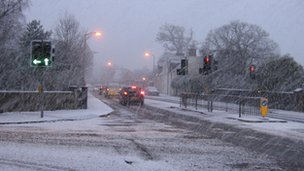 Traffic in snow in Inverness