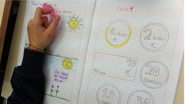 A child's drawings of Euro coins and notes