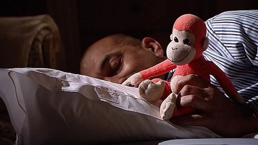 Rajan Datar and a toy monkey