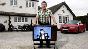 Billy Pearce now and a TV screen depicting him in 1986