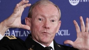 Joint Chiefs Chairman Army Gen Martin Dempsey speaks at the Atlantic Council in Washington, 9 December