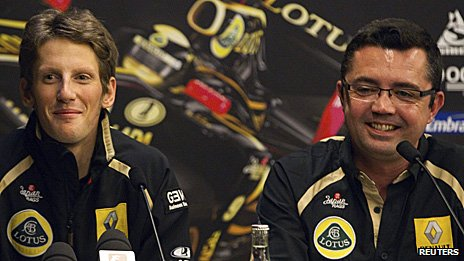 Romain Grosjean and Lotus Renault team boss Eric Boullier