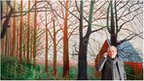 Artist David Hockney stands by his oil painting &quot;Bigger Trees Near Warter&quot; 