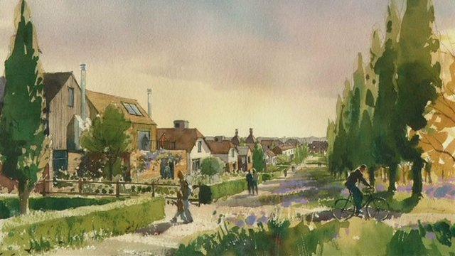 Artist's impression of the new town