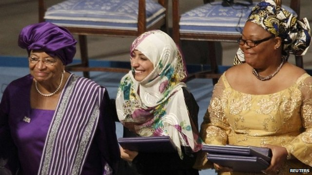 Ellen Johnson Sirleaf, Tawakkol Karman and Leymah Gbowee