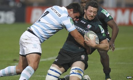 London Irish flanker Declan Danaher holds onto the ball against Racing Metro