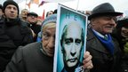 Opposition activists protest in central Moscow, on Saturday
