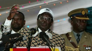Zimbabwean President Robert Mugabe speaking in Bulawayo, 10 December