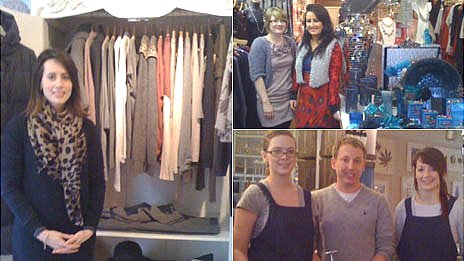 Cowbridge shop owners and workers (clockwise L-R) Melissa Cowan, Ceri and Jessica Simmonds and Badir Saidi