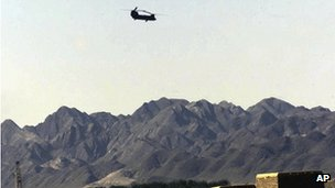 A US helicopter takes off from Shamsi air base (archive image from 2002)