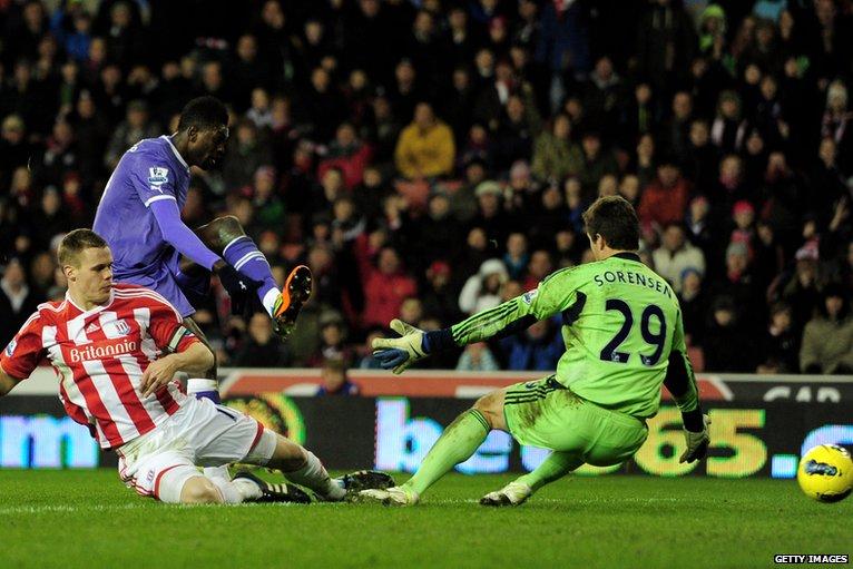 Emmanuel Adebayor scores again but the goal is disallowed