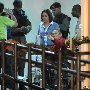 Former Panamenian dictator Manuel Noriega (red) after arrive at the Renacer prison, 25 km south east of Panama City, on December 11, 2011