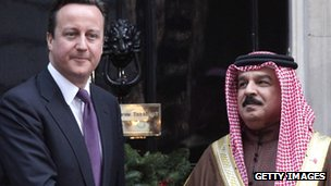 David Cameron and the King of Bahrain Hamad Al-Khalifa