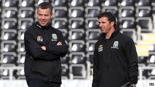 Wales coach Raymond Verheijen (left) with manager Gary Speed, who took his own life in November.