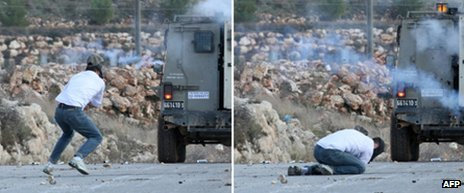 Palestinian protester Mustafa Tamimi before (L) and after he was hit in the face by a tear gas canister fired by Israeli troops during a weekly rally against Israel's controversial separation barrier in the West Bank village of Nabi Saleh on 9 December 2011