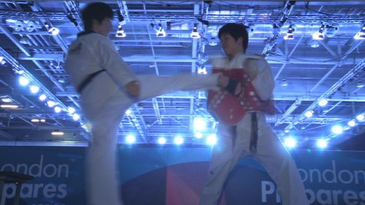 Taekwondo fighters demonstrate the new technology