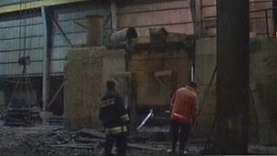 Iranian state television footage showing aftermath of explosion in Iranian steel factory (12 December 2011)