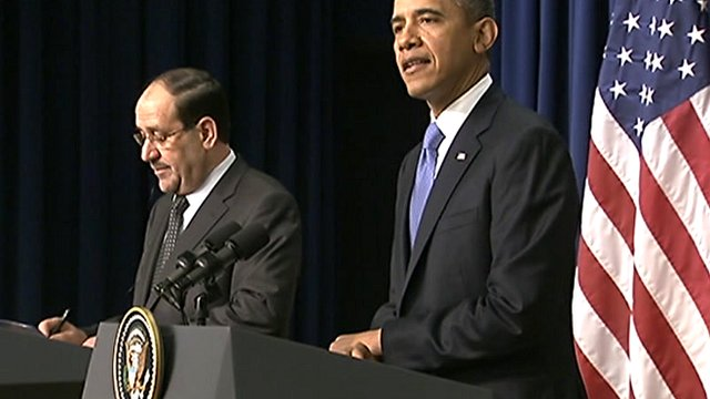 Prime Minister Nouri al-Maliki (left) and President Barack Obama