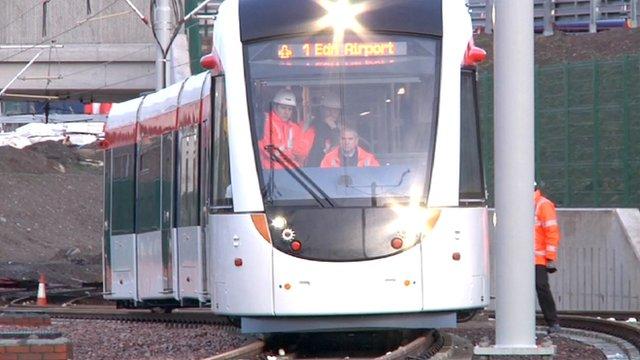 tram on test track at Gogar