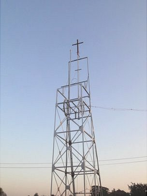 A cross atop a tower in Kolar