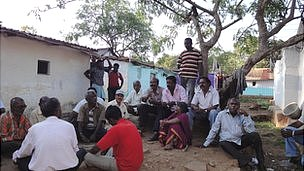Workers at a labour camp in Kolar