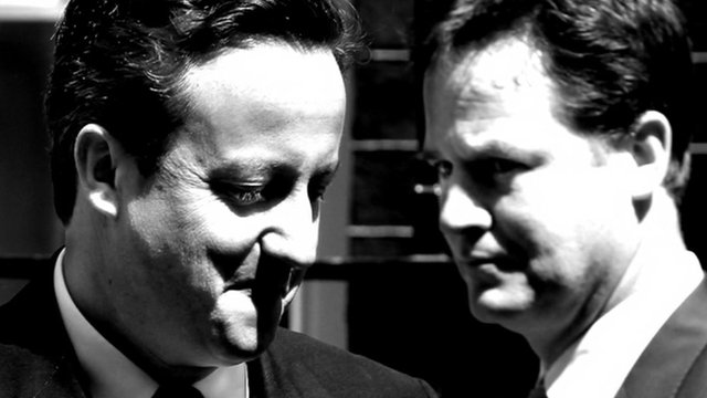 David Cameron (L) and Nick Clegg (R)