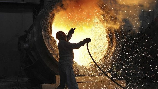 A worker at the Maanshan steel and iron factory in Hefei, Anhui province, China