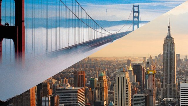 San Francisco&#039;s Golden Gate Bridge and New York&#039;s Empire State Building