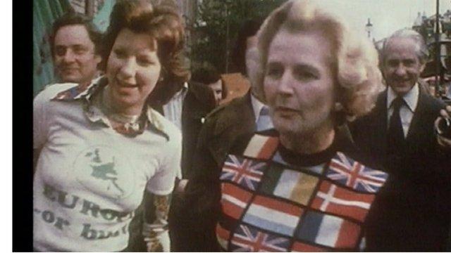 Margaret Thatcher in European flag clothing