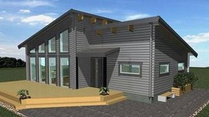 An artist's impression of the proposed timber-frame tourist information centre at Cefn Mawr