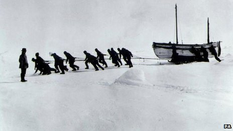 Sir Ernest Shackleton watches his crew haul the James Caird after their ship, Endurance, broke up (Imperial Trans-Antarctic expedition 1914 - 1916)