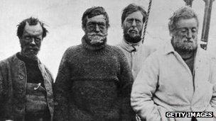 Frank Wild (left) with Sir Ernest Shackleton (2nd left) on board the  Nimrod on their return voyage after reaching a point 97 miles from the South Pole, a record at the time