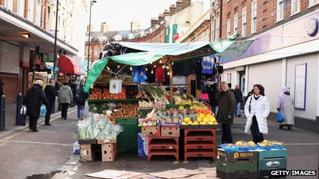 A street market in London