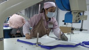 A factory worker in Guangzhou